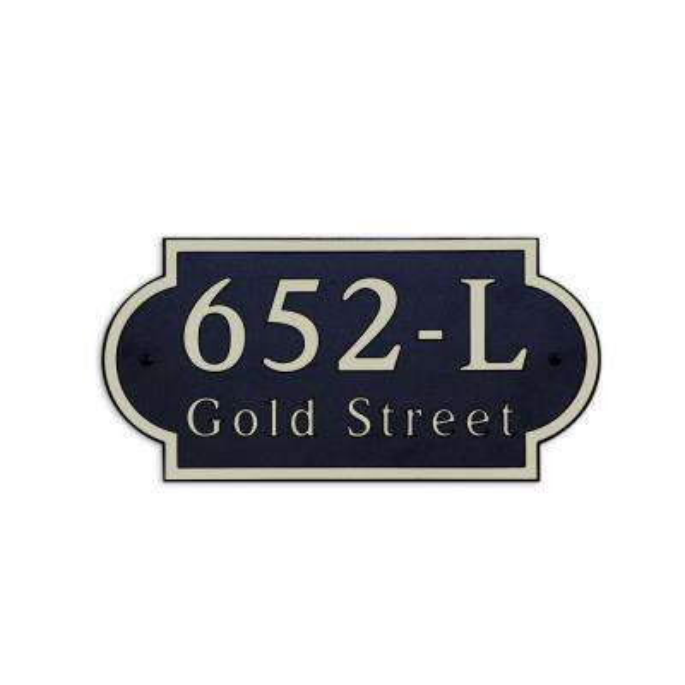 16 in. L x 8 in. H Large Designer Shape Custom Plastic Address Plaque Gold on Black
