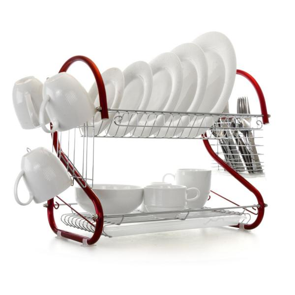 16 in. 2-Tier Red Chrome Plated Standing Dish Rack