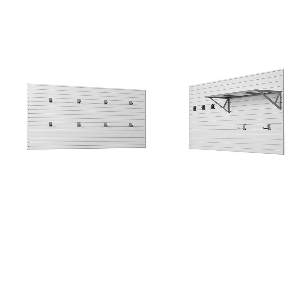 Flow Wall Dynamic 72 in. H x 96 in. W White Garage Wall Storage Set