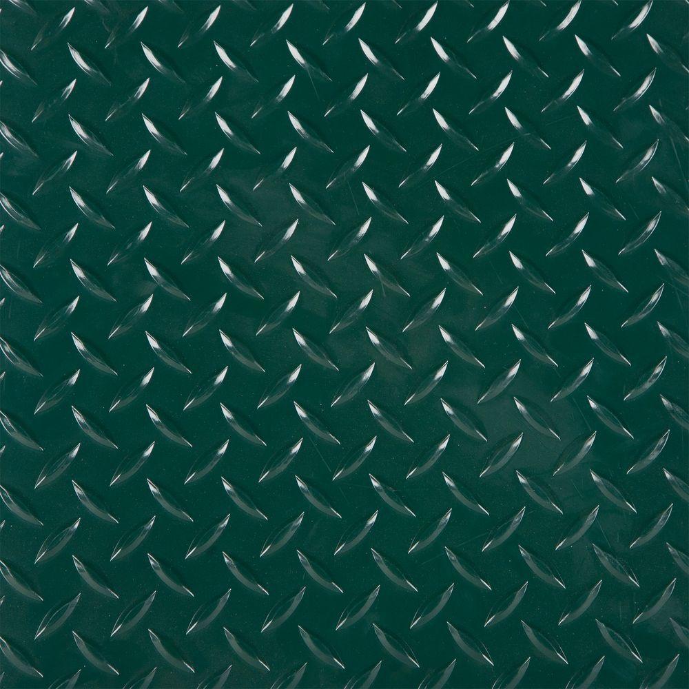 RaceDay 2 ft. x 2 ft. Forest Green Peel and Stick Diamond Tread Polyvinyl Tile (40 sq. ft. / case)