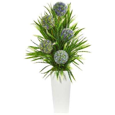 3 ft. Indoor Ball Flower and Grass Artificial Arrangement in Planter