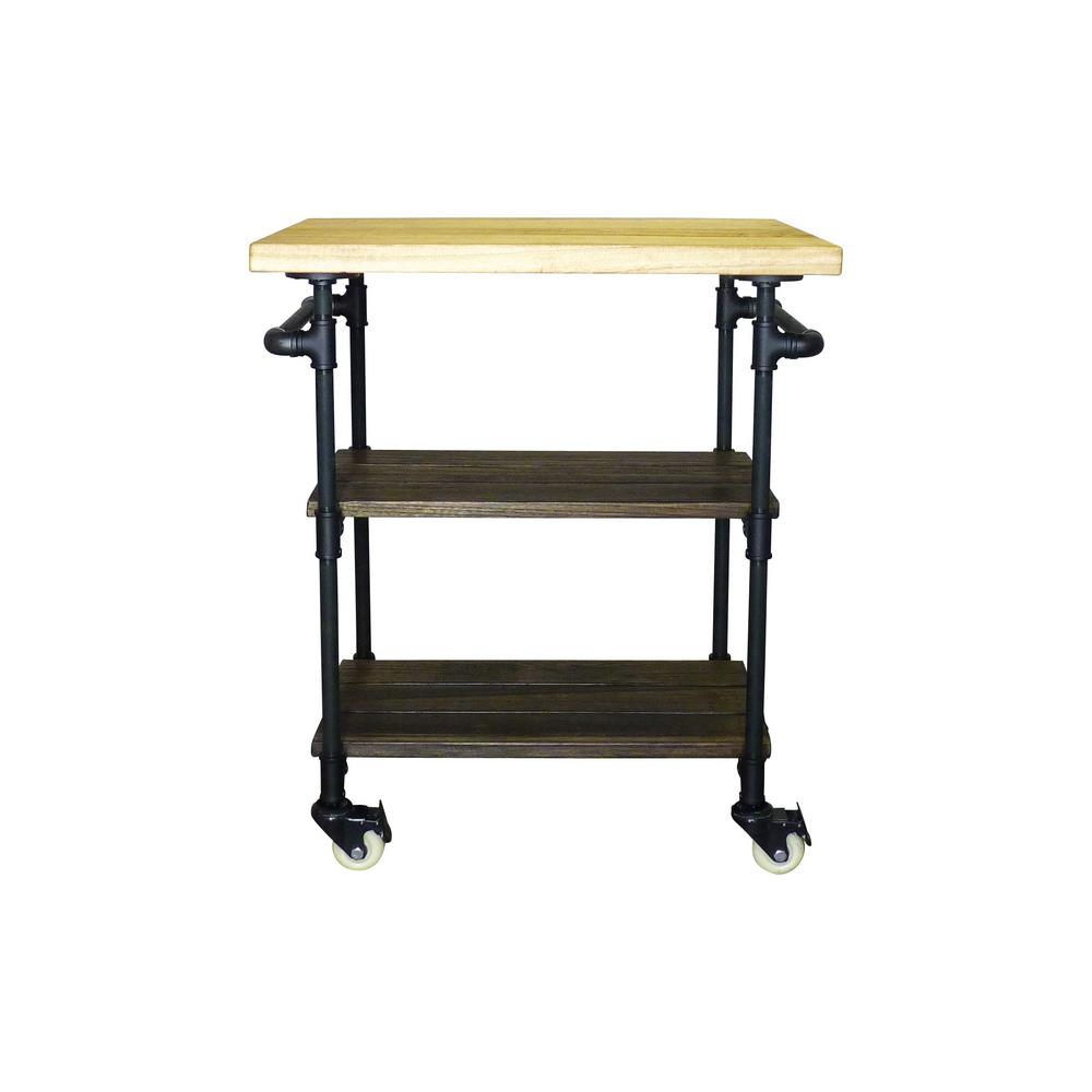 Furniture Pipeline Hoboken Industrial, Black 3-Tier Kitchen ...