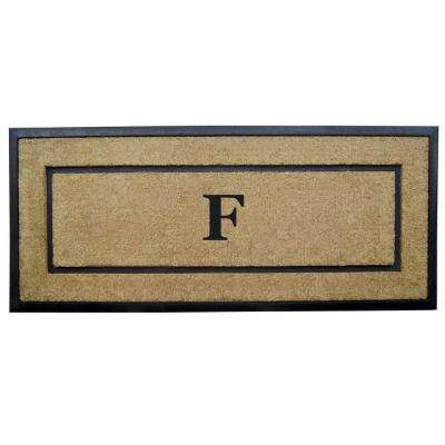 DirtBuster Single Picture Frame Black 24 in. x 57 in. Coir with Rubber Border Monogrammed F Door Mat