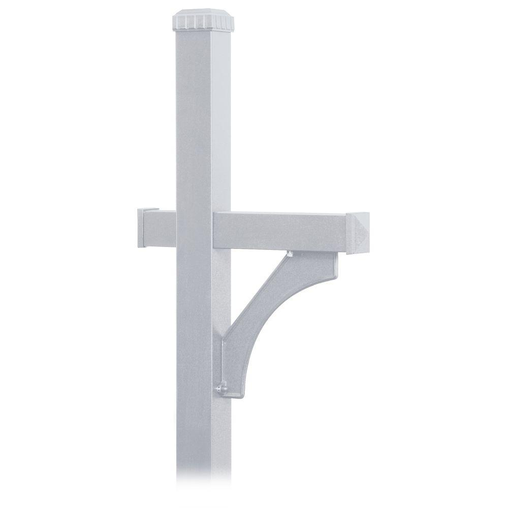 Deluxe 1-Sided In-Ground Mounted Mailbox Post for Roadside Mailbox in Silver