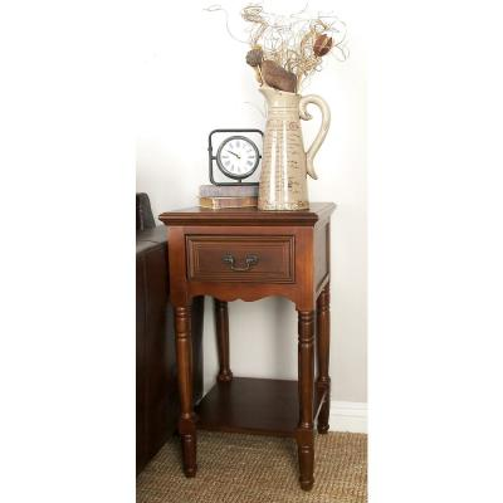 Litton Lane Chestnut Brown Wood Accent Table