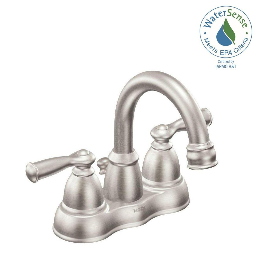MOEN Banbury 4 in. Centerset 2-Handle Bathroom Faucet in Spot Resist ...