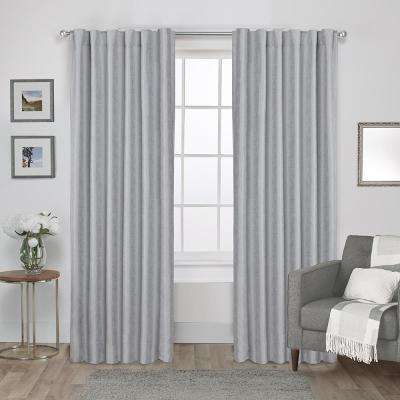Zeus Dove Grey Solid Textured Jacquard Blackout Back Tab Top Window Curtain