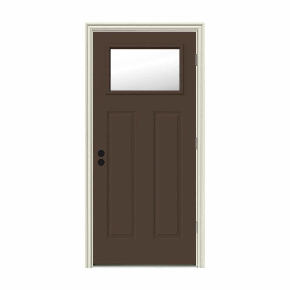 JELD-WEN 32 in. x 80 in. 1 Lite Craftsman Dark Chocolate Painted Steel Prehung Left-Hand Outswing Front Door w/Brickmould