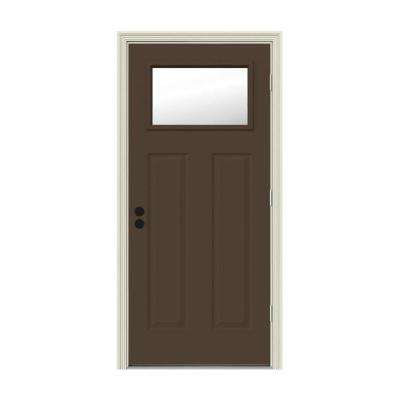 32 in. x 80 in. 1 Lite Craftsman Dark Chocolate Painted Steel Prehung Left-Hand Outswing Front Door w/Brickmould