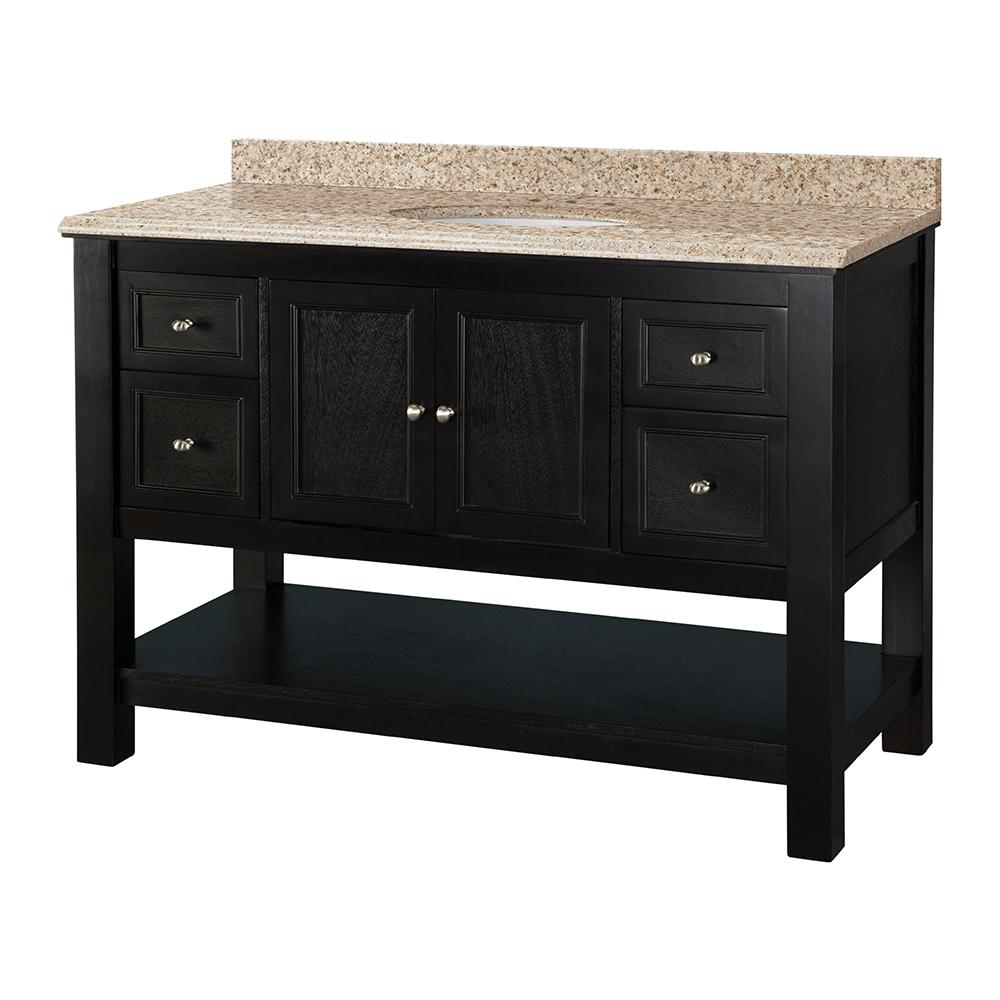 Home Decorators Collection Gazette 49 in. W x 22 in. D Vanity in Espresso with Vanity Top in Beige with White Sink