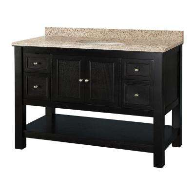 Gazette 49 in. W x 22 in. D Vanity in Espresso with Vanity Top in Beige with White Sink
