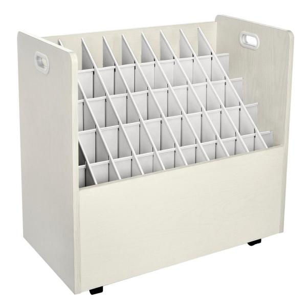 AdirOffice 50-Compartment White Mobile Wood Roll File Storage Organizer 626-WHI