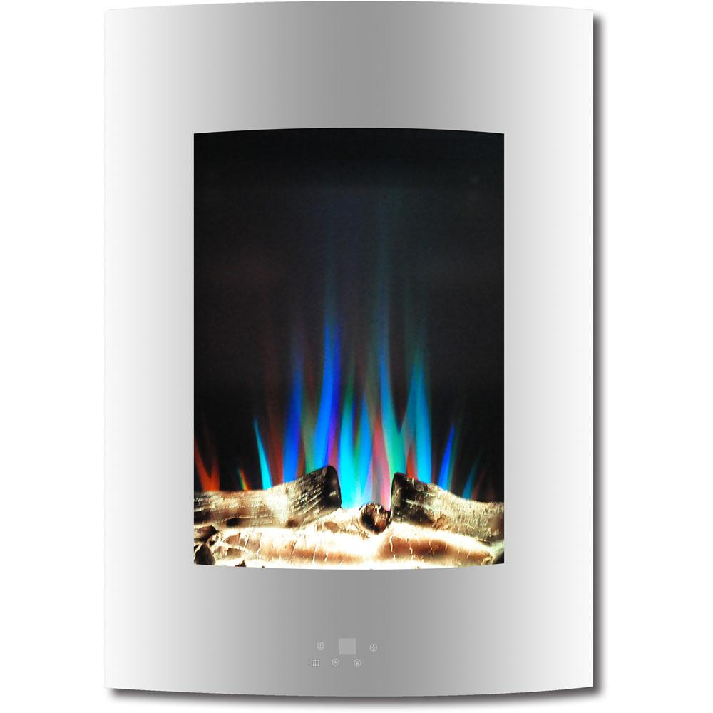 Show off your flair for design and hospitality with the vertical wall-mount electric fireplace from Cambridge. Featuring an array of LED colors and effects