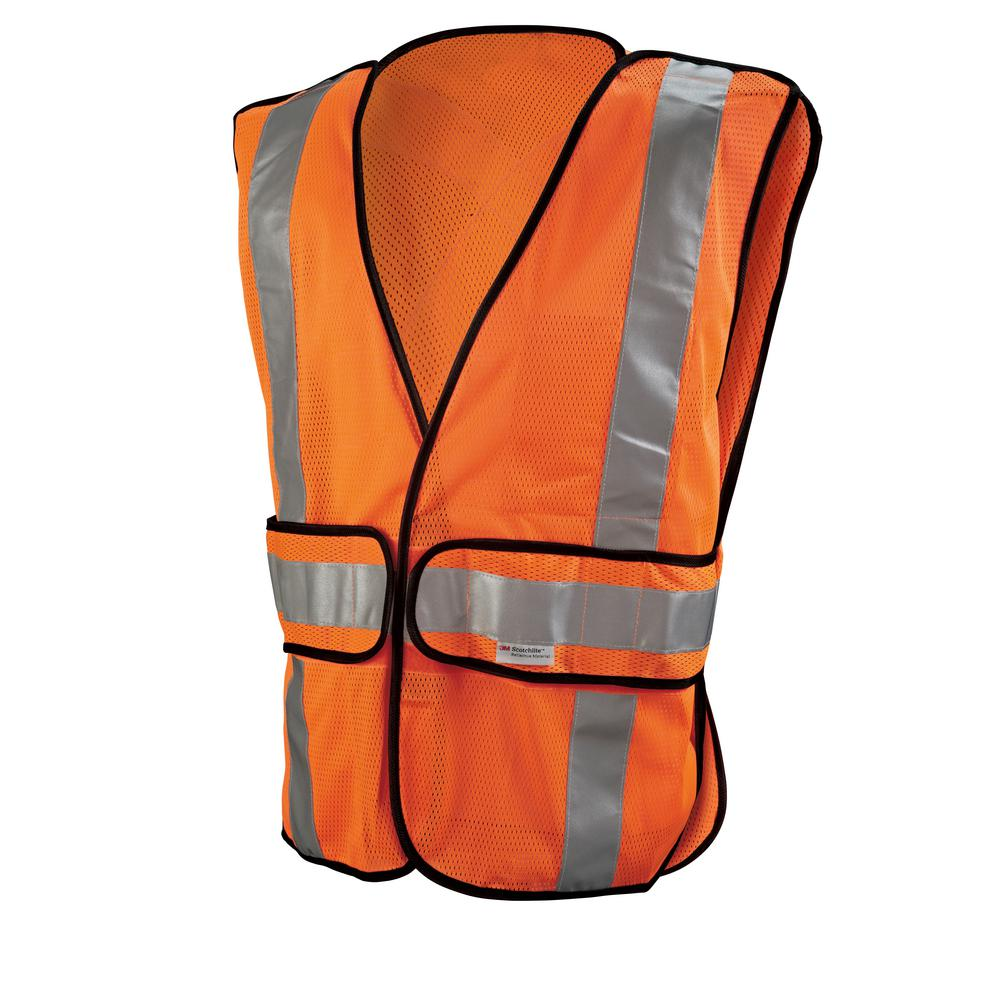 3M High-Visibility Fluorescent Orange Reflective Class 2 Construction Safety Vest, High Visibility Orange
