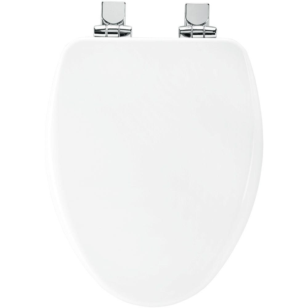 Church Elongated Closed Front Toilet Seat in White