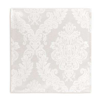 60 in. W x 84 in. L OvaL White Elrene Barcelona Damask Fabric Tablecloth