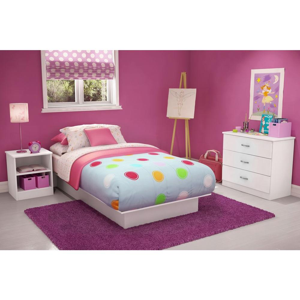 South S Libra Twin Size Platform Bed In Pure White