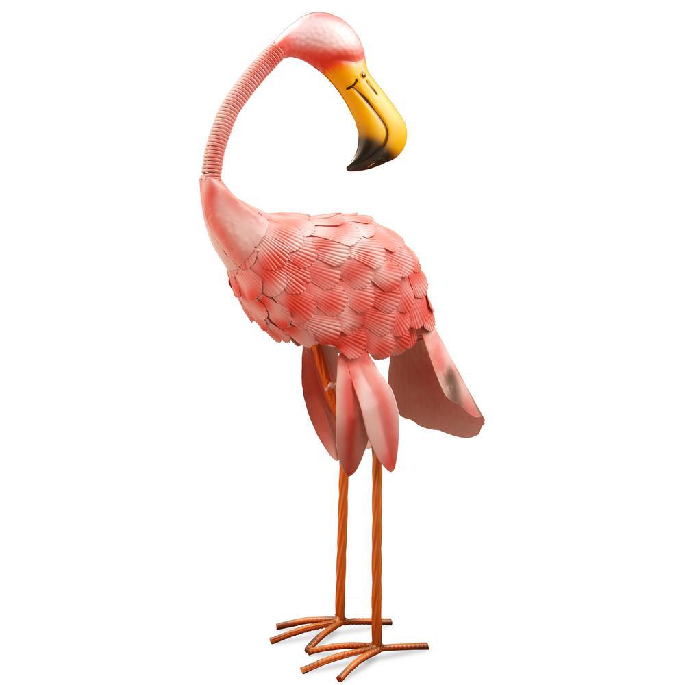 32 in. Metal Pink Flamingo