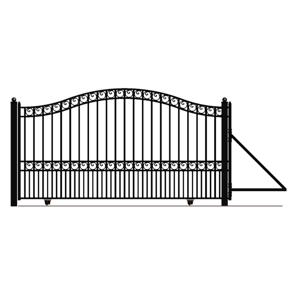 Paris Style 16 ft. x 6 ft. Black Steel Single Slide Driveway Fence Gate