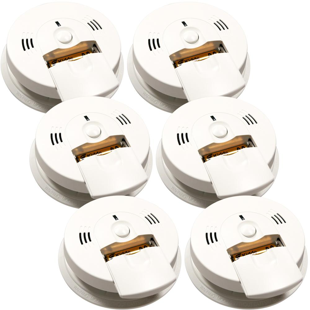 Battery Operated Combination Smoke and CO Alarm with Voice Alert (6-Pack)