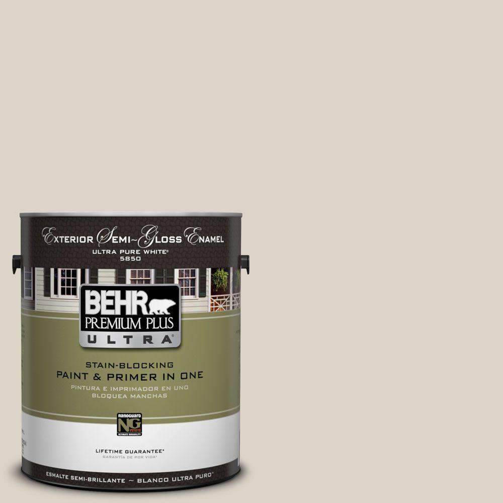 BEHR Premium Plus Ultra 1-Gal. #UL170-14 Canvas Tan Semi-Gloss Enamel Exterior Paint