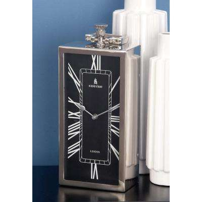 16 in x 6 in. Classic Aluminium and Stainless Steel Rectangular Table Clock