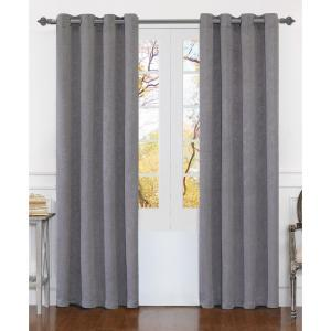 Matelasse 84 inch Silver Polyester Extra Wide Grommet Window Curtain Panel (2-Pack) by