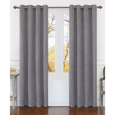 Matelasse 84 in. Silver Polyester Extra Wide Grommet Window Curtain Panel (2-Pack)