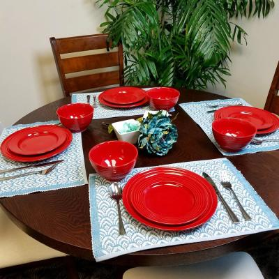 Plaza Cafe 12-Piece Red Dinnerware Set