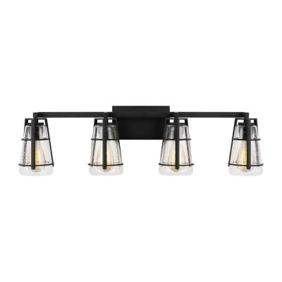 Adelaide 33.5 in. W. 4-Light Midnight Black Vanity Light with Clear Seeded Glass Shades