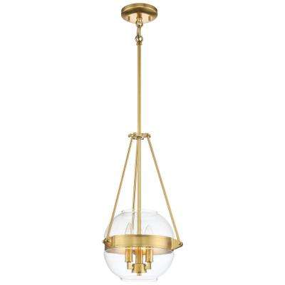 Atrio Collection 3-Light Liberty Gold Finish Pendant 12 in. with Clear Glass