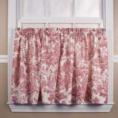 Victoria Park Toile 68 in. W x 24 in. L CottonTailored Tier Pair Curtains in Red