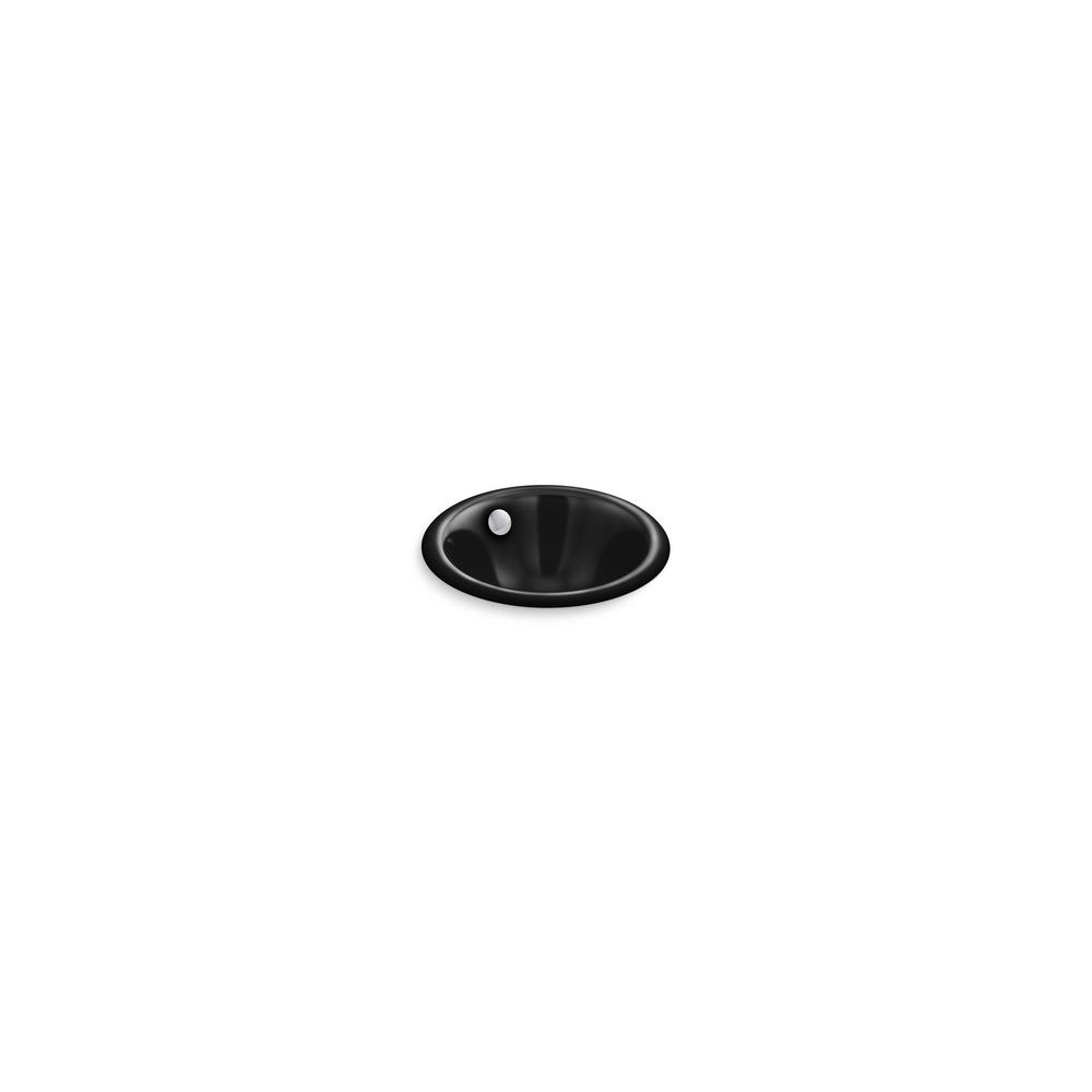 Iron Plains Round 12 in. Drop-In/Undermount Bathroom Sink in Black Black