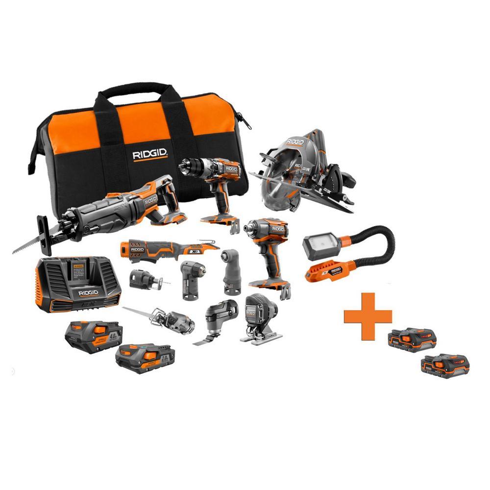 18-Volt Lithium-Ion Cordless 12-Piece Combo Kit with Bonus 18-Volt 1.5 Ah Lithium-Ion Battery (2-Pack)