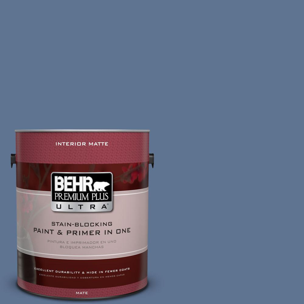 BEHR Premium Plus Ultra 1 gal. #PPU14-18 Laguna Blue Flat/Matte Interior Paint