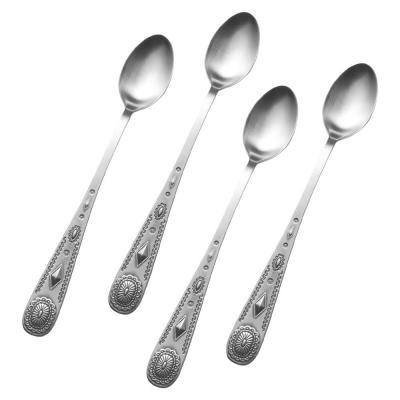 Taos Silver 18/10 Stainless Steel Iced Beverage Spoon Set (4-Pack)
