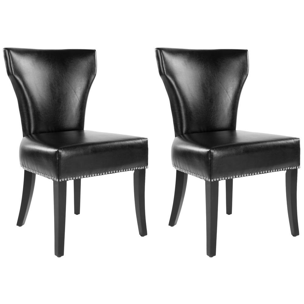 Safavieh Jappic Black/Espresso Bicast Leather Side Chair (Set Of 2)