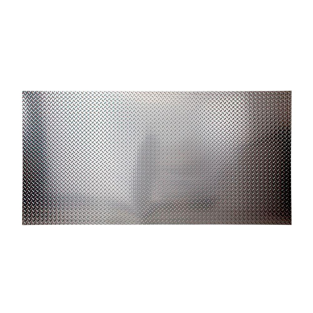 Fasade 96 in. x 48 in. Diamond Plate Decorative Wall Panel in Brushed Aluminum
