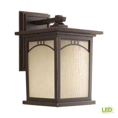Residence Collection 1-Light 12.2 in. Outdoor Antique Bronze LED Wall Lantern