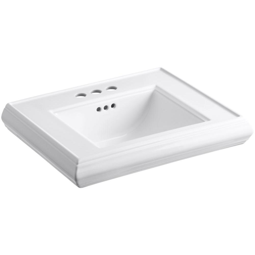 Memoirs 24 in. Ceramic Pedestal Sink Basin in White with Overflow