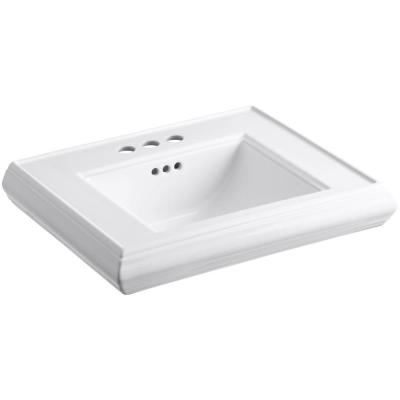 Memoirs 24 in. Ceramic Pedestal Sink Basin in White with Overflow Drain