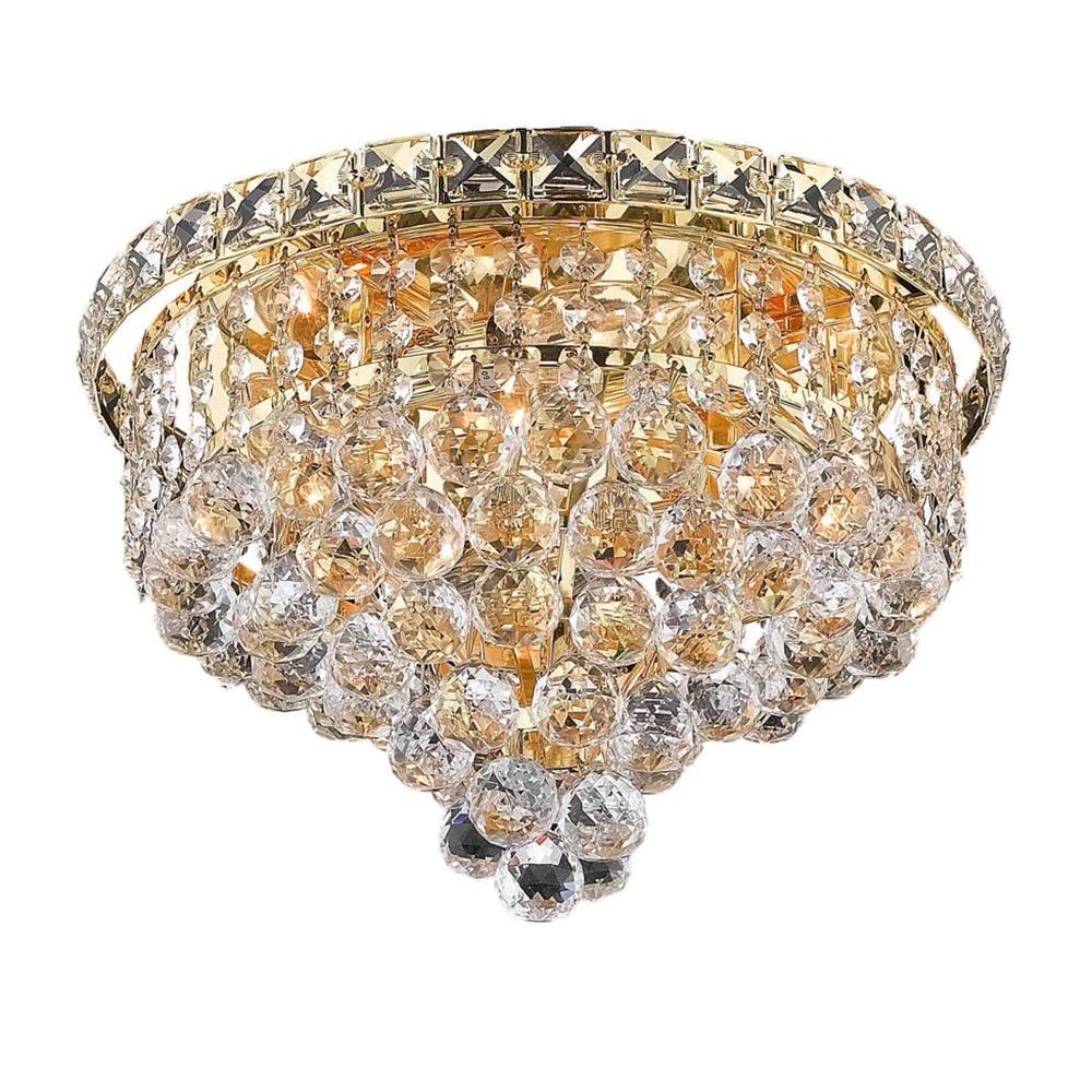Elegant Lighting 4-Light Gold Flushmount with Clear Crystal