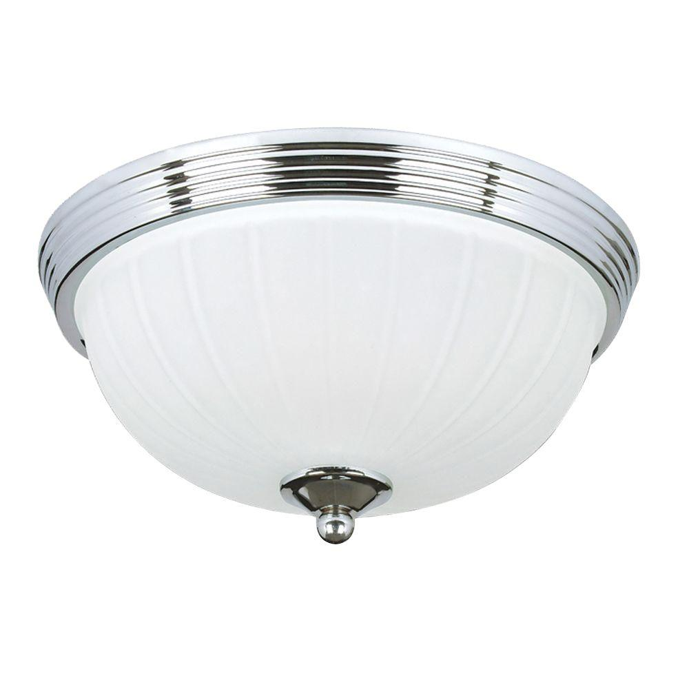 Lola Collection 2-Light Chrome Flushmount with Frosted White Glass