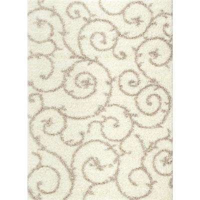 Soft Cozy Contemporary Scroll Cream/White 7 ft. 10 in. x 10 ft. Indoor Shag Area Rug