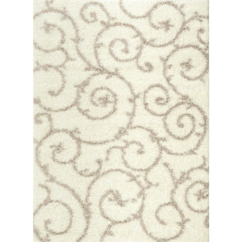 Soft Cozy Contemporary Scroll Cream/White 5 ft. 3 in. x 7