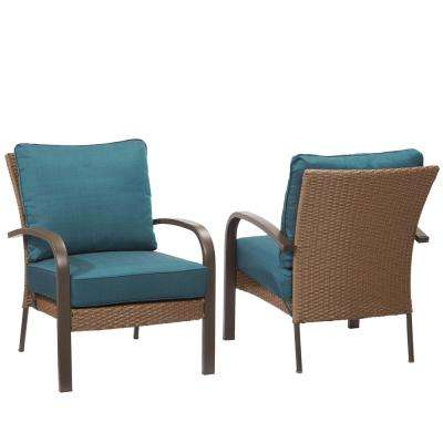 Corranade Stackable Wicker Outdoor Lounge Chair with Charleston Cushion (2-Pack)