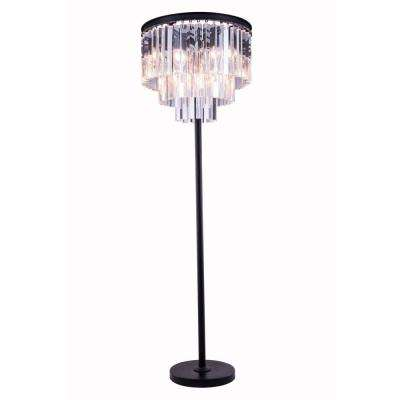 Sydney 63 in. Mocha Brown Floor Lamp with Clear Crystal