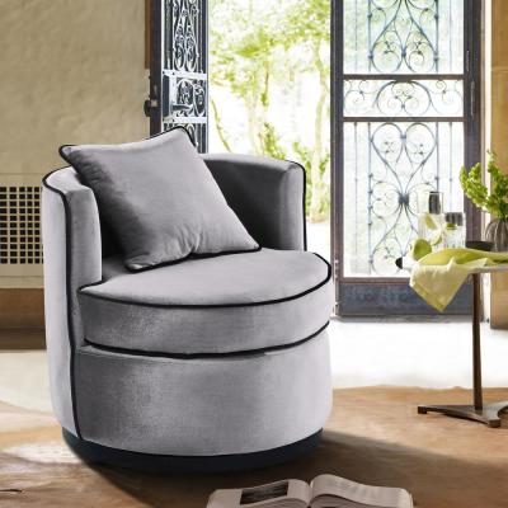 Truly Grey Velvet and Black Velvet Piping Contemporary Swivel Chair