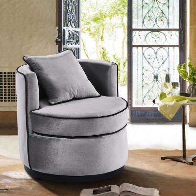 Truly Grey Velvet and Black Velvet Piping Contemporary Swivel Chair