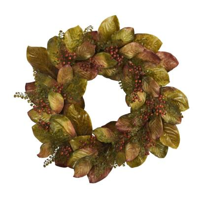 30 in. Fall Magnolia Leaf and Berries Artificial Wreath